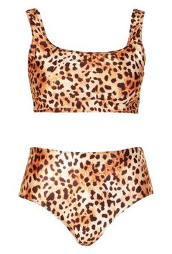 Brown Plus Cheetah Printed High Waist Bikini