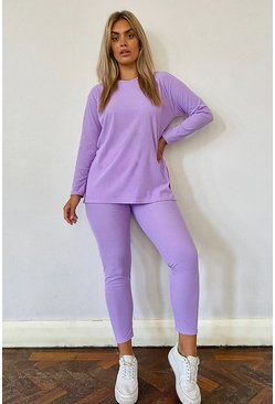 Lilac purple Plus Super Soft Side Split Lounge Set