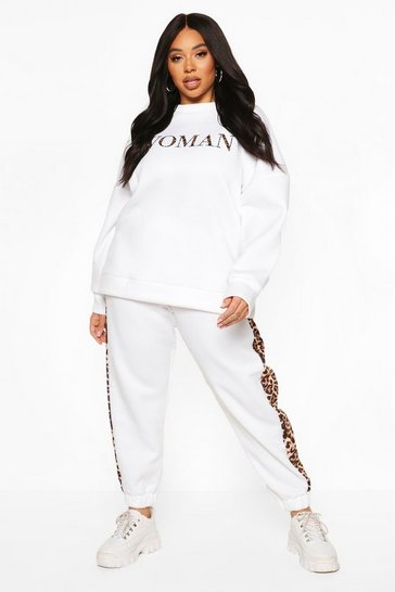 White Plus Woman Slogan Tracksuit