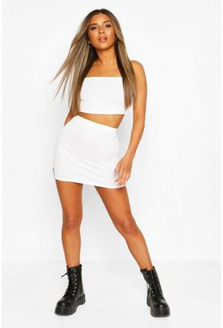 Ivory white Petite Strappy Bralet & Mini Skirt Two-Piece