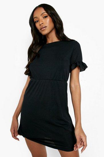 Black Petite Frill Sleeve Smock Dress