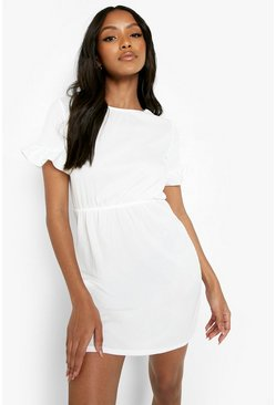 Ivory white Petite Frill Sleeve Smock Dress