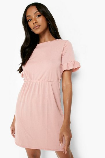 Rose pink Petite Frill Sleeve Smock Dress