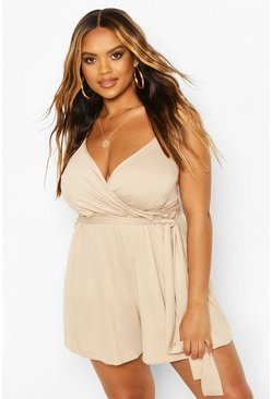 Stone beige Plus Wrap Tie Waist Playsuit
