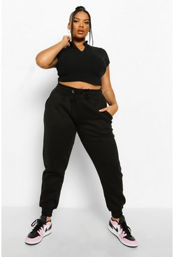 Zwart black Plus Oversized Joggingbroek