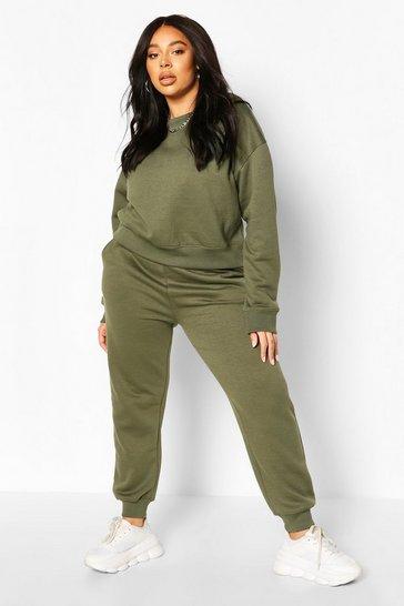 Khaki Green Plus Oversized Joggers