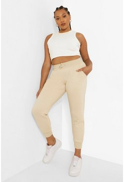 Steenrood beige Plus Oversized Basic Joggingbroek