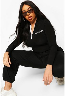 Black Plus New Season Zip Through Longsleeve Bodysuit