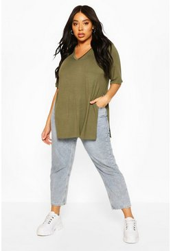 Khaki Plus V Neck Split Side Longline T-Shirt