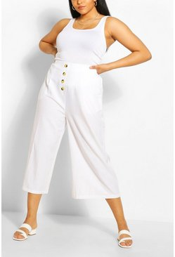 Ivory white Plus Linen Wide Leg Culottes