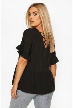 Black Plus Criss Cross Back Smock Top