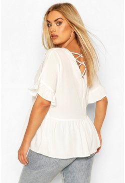 Ivory white Plus Criss Cross Back Smock Top