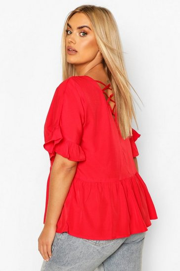 Red Plus Criss Cross Back Smock Top