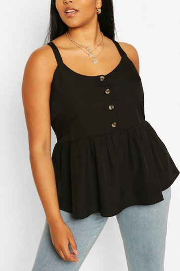Black Plus Tort Button Smock Cami