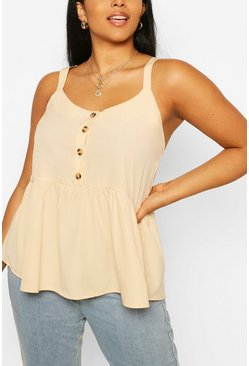 Stone beige Plus Tort Button Smock Cami