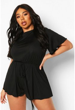 Black Plus Rib Lettuce Hem Basic Playsuit