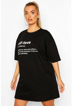 Black Plus 'Self Love' T-shirt Dress