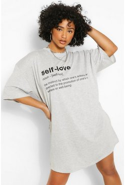 Grey Plus 'Self Love' T-shirt Dress