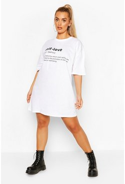 "Plus Abito t-shirt ""Self Love"", Bianco"