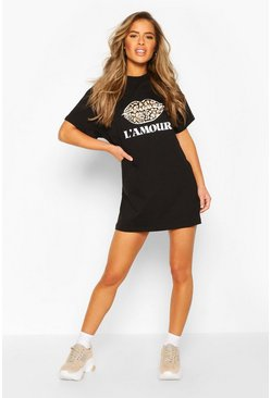 Black Petite Leopard Lips Slogan T-Shirt Dress