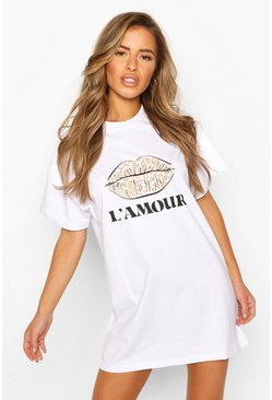 White Petite Leopard Lips Slogan T-Shirt Dress