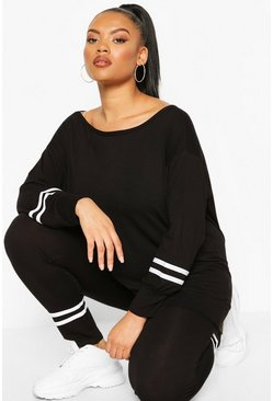 Black Slash Neck Stripe Detail Lounge Set