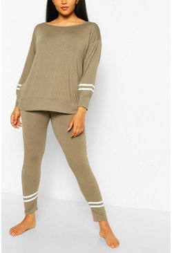 Khaki Slash Neck Stripe Detail Lounge Set