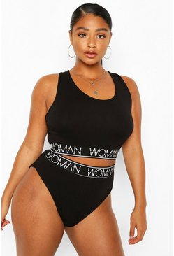 Black Plus 'Woman' Bra & Knicker Set