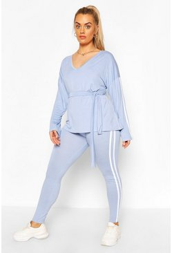 Baby blue blue Plus V Neck Tie Waist Stripe Lounge Set