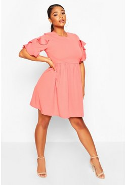 Coral pink Plus Extreme Ruffle Sleeve Smock Dress