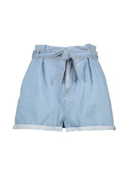 Mid blue Plus Denim Belted High Waist Shorts