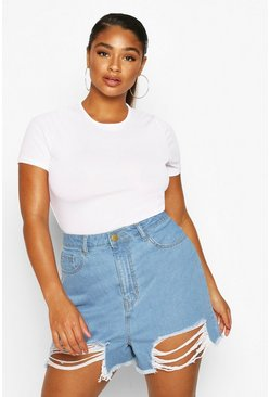 Light blue Plus Washed Distressed Short