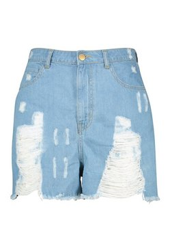 Light blue Plus Light Wash Distressed Short
