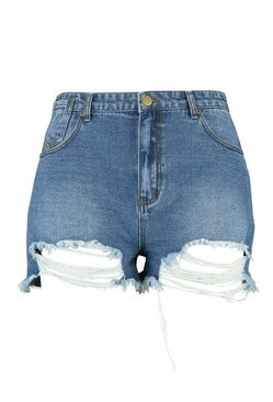 Blue Plus Dark Wash Distressed Denim Shorts