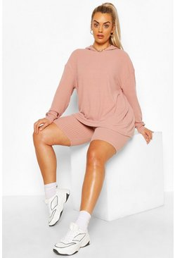 Rose pink Plus Soft Rib Hoody & Cycle Short Set