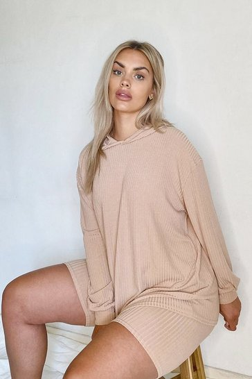 Stone beige Plus Soft Rib Hoody & Cycle Short Set