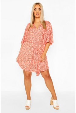 Red Plus Floral Twist Front Kimono Shift Dress