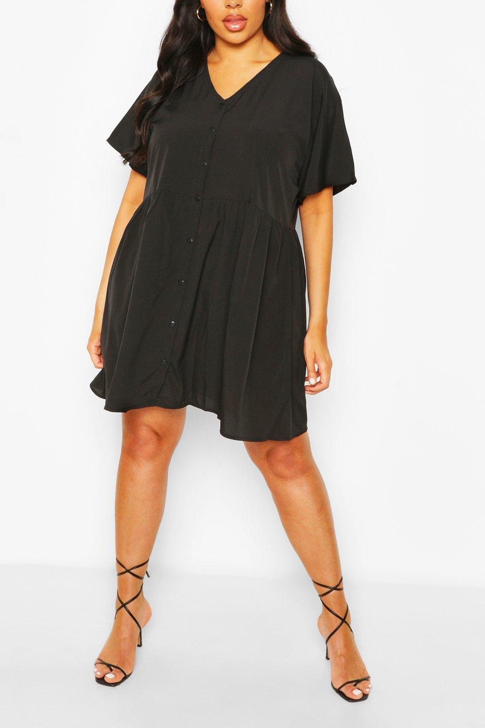 Plus Button Front Woven Smock Dress 8