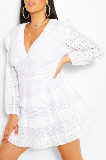 White Plus Broderie Ruffle Skater Dress