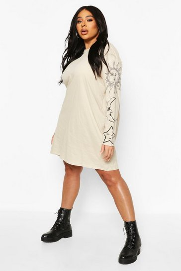 Stone beige Plus Sun & Moon Oversized T-Shirt Dress