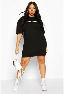 "Plus ""Original"" Oversized T-Shirt-Kleid, Schwarz"