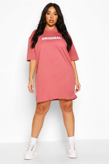 Rose pink Plus Original Oversized T-Shirt Dress