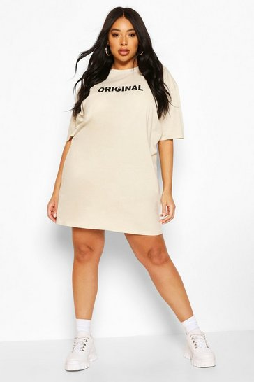 Stone beige Plus Original Oversized T-Shirt Dress