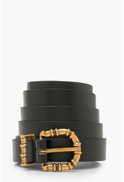 Black Plus Textured Buckle Boyfriend Belt