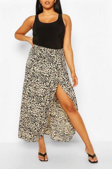 Plus Leopard Ruffle Maxi Skirt