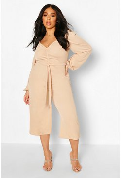 Stone beige Plus Puff Sleeve Belted Jumpsuit