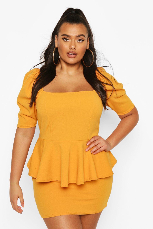 Plus Peplum Puff Sleeve Mini Dress 6