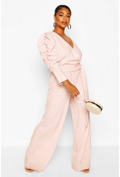 Blush pink Plus Ruched Puff Sleeve Wrap Belted Jumpsuit