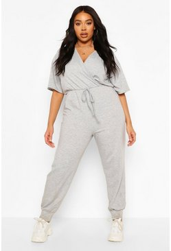 Grey Plus Jersey Loopback Wrap Jumpsuit