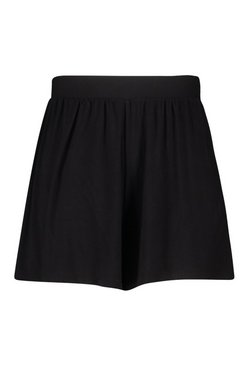 Black Plus Jersey Highwaisted Flippy Shorts